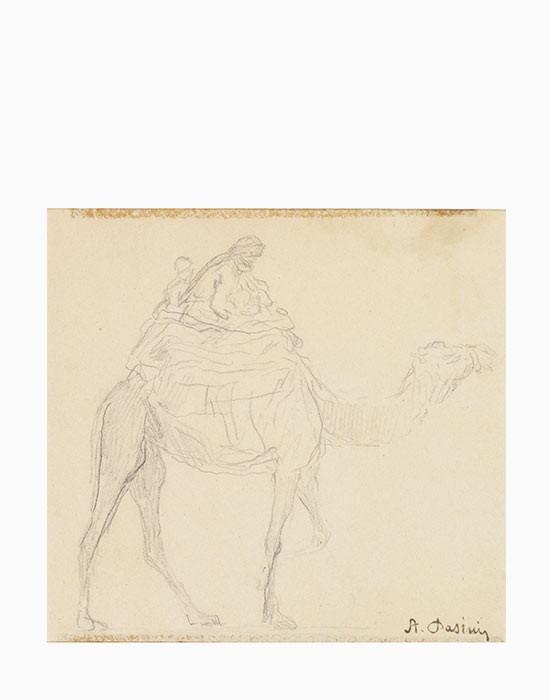 Femme et enfant à dos de chameau