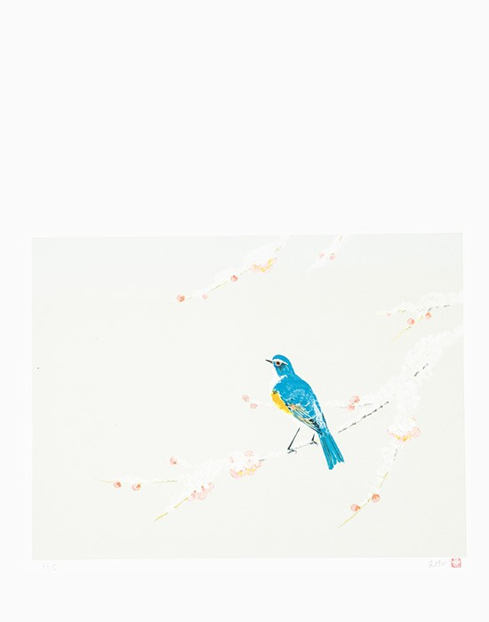 Estampe Paysage avec oiseau